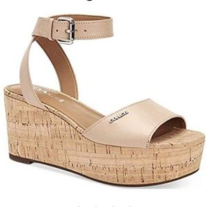 Coach Cream Wedge Sandal For Women 9